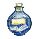 Livro da aquarela na garrafa de vidro Ilustração pintado à mão isolada no fundo branco Fotos de Stock Royalty Free