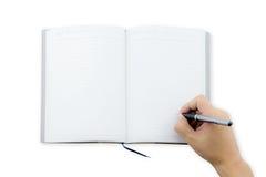 livro da escrita da mão do trabalhador de escritório do homem (nota, diário) espalhado Imagens de Stock