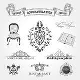 Livro da fita da cadeira do vintage dos elementos. Vetor Fotografia de Stock