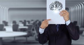 Livro da mostra da mão do cérebro do metal 3d Fotografia de Stock Royalty Free