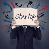 Livro da mostra da mão do homem de negócios do negócio startup Imagens de Stock