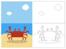 Livro da página da coloração - caranguejo ilustração stock