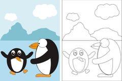 Livro da página da coloração com os dois pinguins engraçados Fotos de Stock Royalty Free