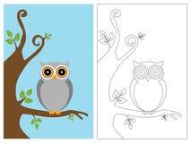 Livro da página da coloração - coruja ilustração royalty free