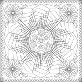 Livro da página da coloração para a flor geométrica Mandala Design Vetora Illustration do formato quadrado dos adultos ilustração stock