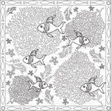 Livro da página da coloração para a ilustração quadrada de Coral Fish Underwater Design Vetora do formato dos adultos ilustração stock
