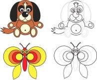 Livro da página da coloração para miúdos - cão e borboleta Fotos de Stock Royalty Free