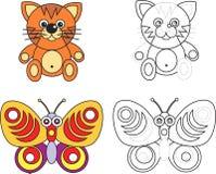 Livro da página da coloração para miúdos - gato e borboleta Fotos de Stock