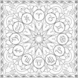 Livro da página da coloração para a roda quadrada Mandala Design Vetora Illustration dos ícones do zodíaco do formato dos adultos ilustração stock