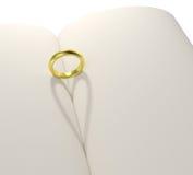 Livro da placa da sombra da forma do coração do anel de ouro ilustração do vetor