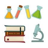 Livro da química da ciência ou taças e ícones lisos do vetor do microscópio da biologia ajustados ilustração stock
