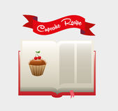Livro da receita do queque Foto de Stock Royalty Free