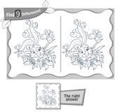 Livro das diferenças do jogo 9 do coelhinho da Páscoa ilustração do vetor