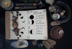 Livro das sombras com fases lunares no altar preto imagem de stock royalty free