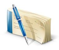 Livro de cheques com pena Imagem de Stock