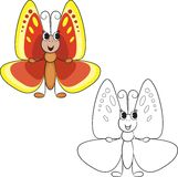 Livro de coloração Borboleta bonito dos desenhos animados Imagens de Stock Royalty Free
