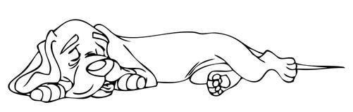 Livro de coloração - cão do sono Fotos de Stock Royalty Free