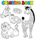 Livro de coloração com animais tropicos 2 ilustração stock
