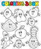 Livro de coloração com frutas 1 dos desenhos animados Imagens de Stock