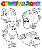Livro de coloração com quatro peixes ilustração do vetor