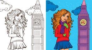 Livro de coloração da menina em Londres Fotografia de Stock