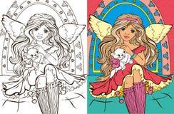 Livro de coloração de Angel Girl With Cat ilustração stock