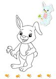 Livro de coloração dos animais 13 - coelho ilustração royalty free