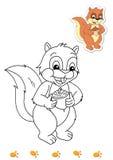 Livro de coloração dos animais 7 - esquilo ilustração stock