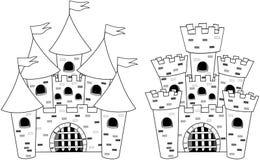 Livro de coloração dos desenhos animados de Castels do castelo isolado ilustração stock