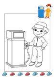 Livro de coloração dos trabalhos 38 - o posto de gasolina atende Imagem de Stock
