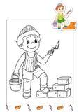 Livro de coloração dos trabalhos 9 - pedreiro Imagem de Stock