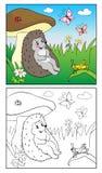 Livro de coloração Ilustração do ouriço e do inseto para crianças Imagens de Stock Royalty Free