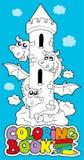 Livro de coloração com dragão 1 Foto de Stock
