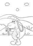 Livro de coloração com dragão Imagens de Stock