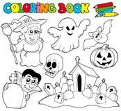 Livro de coloração com tema de Halloween Imagens de Stock Royalty Free