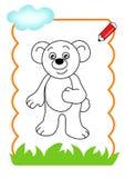 Livro de coloração da madeira, urso Imagens de Stock Royalty Free