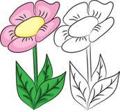Livro de coloração Flor dos desenhos animados Fotos de Stock Royalty Free