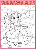 Livro de coloração Princesa pequena no prado Fotos de Stock