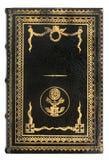 Livro de couro preto com quadro do ouro Imagem de Stock