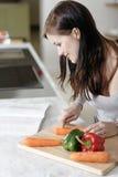 Livro de cozinha da leitura da mulher Foto de Stock Royalty Free