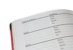 Livro de endereço Fotos de Stock