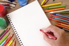 Livro de escola da escrita da mão Fotografia de Stock Royalty Free
