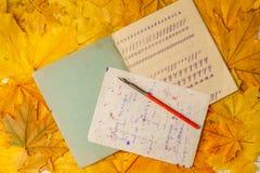 Livro de exercício de velha escola com uma pena de madeira da tinta em um fundo das folhas de bordo amarelas Um livro de exercíci Imagens de Stock Royalty Free