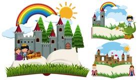 Livro de histórias com caráteres e castelos do conto de fadas ilustração royalty free