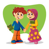 Livro de With Holy Quran do irmão e da irmã Imagem de Stock Royalty Free