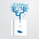 Livro de Infographic aberto com a árvore do grampo da educação do vetor da folha Fotos de Stock Royalty Free