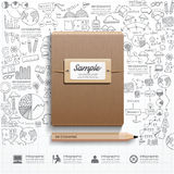 Livro de Infographic com a lápis estratégia das garatujas do sucesso do desenho Imagem de Stock Royalty Free