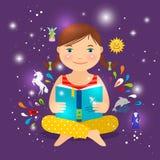 Livro de leitura bonito da menina sobre a mágica ilustração stock