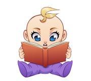 Livro de leitura bonito do bebê dos desenhos animados Foto de Stock Royalty Free