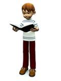 Livro de leitura bonito do menino dos desenhos animados. Fotos de Stock Royalty Free
